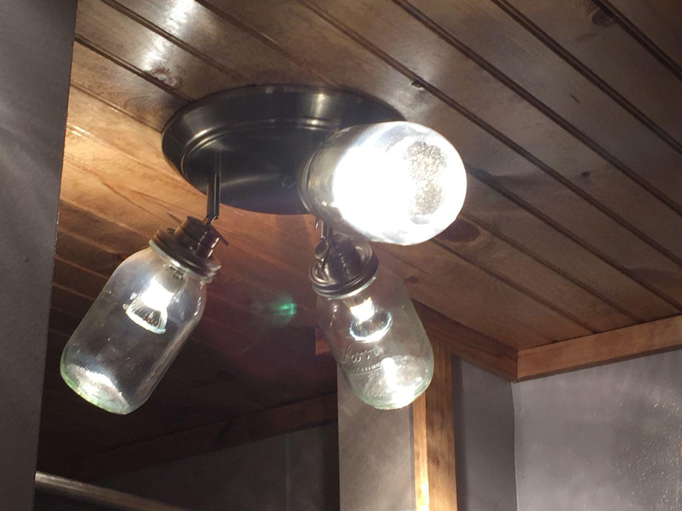 Mason jars for ceiling lights