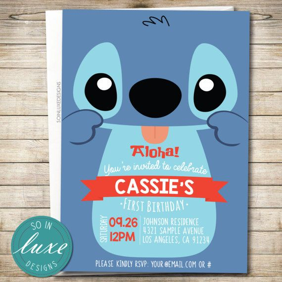 stitch birthday party invitation lilo stitch themed cute