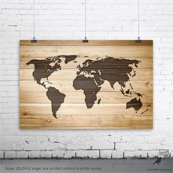 Rustic World Map Poster Map of the World Turquoise Map on