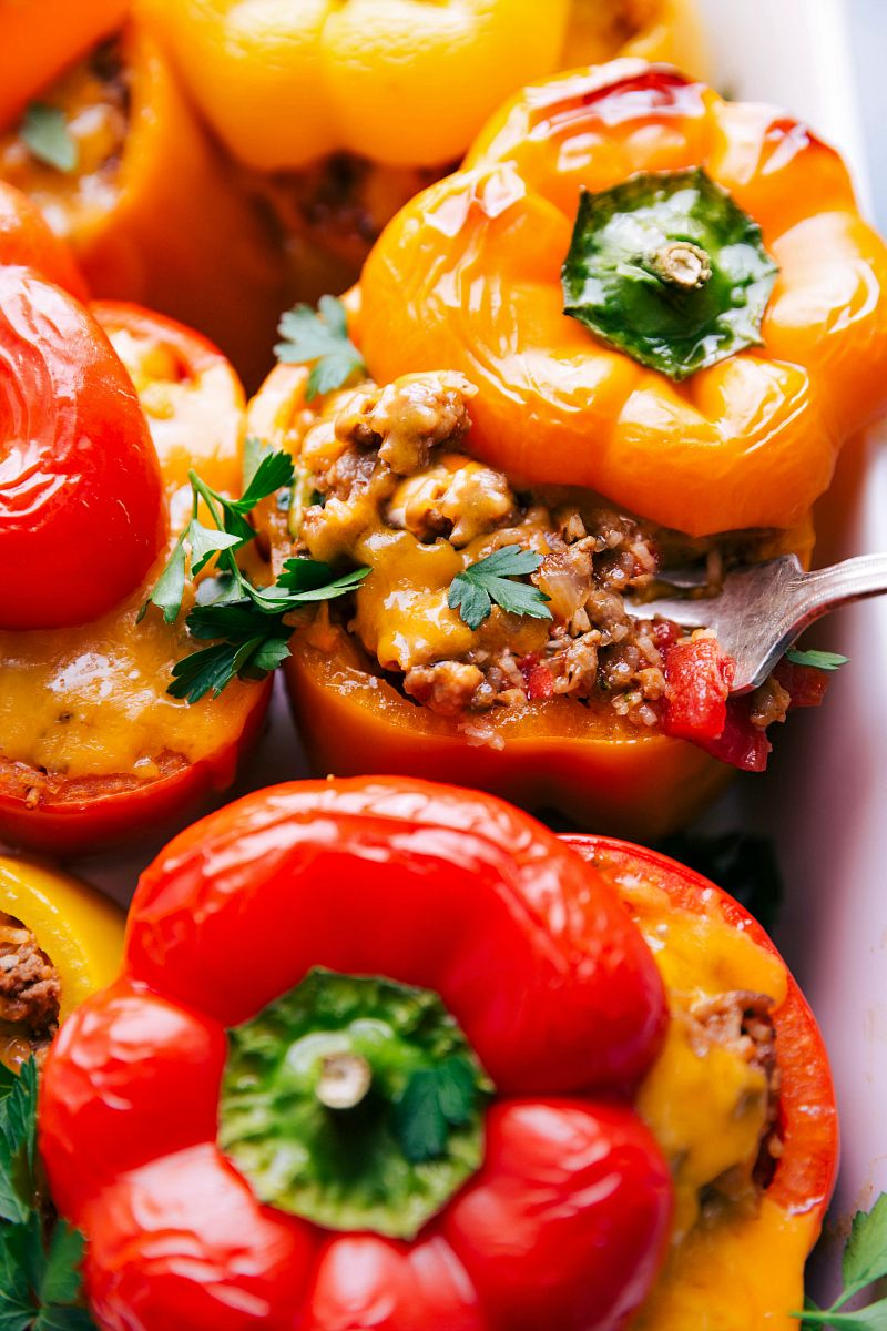 These Amazing Stuffed Peppers Recipe Is Loaded With Seasoned Italian Sausage And Ground Beef Hearty Co Stuffed Peppers Baked Fish Fillet Fire Roasted Tomatoes