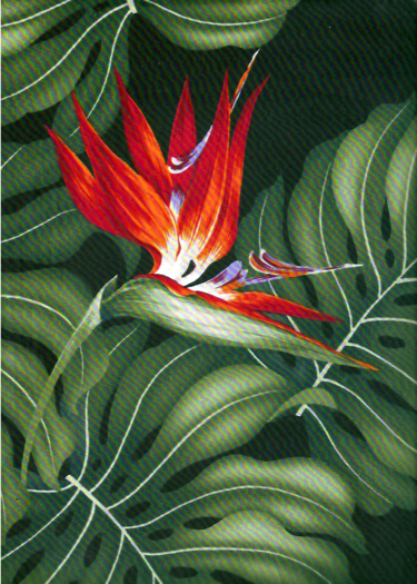 Vintage Style Hawaiian Fabrics Tropical Hawaiian Bird Of Paradise Flowers Monstera Leaves On A Cotton Apparel Fabric Tropical Hawaiian Art Hawaiian Fabric
