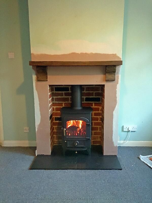 New Tiles Behind Wood Stove