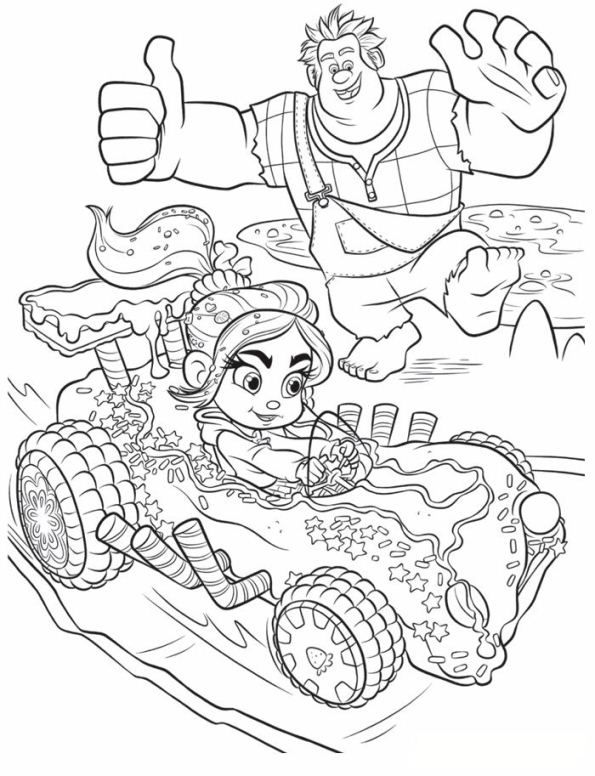 Coloring Page Wreck It Ralph Ralph Vanellope With Images Cool
