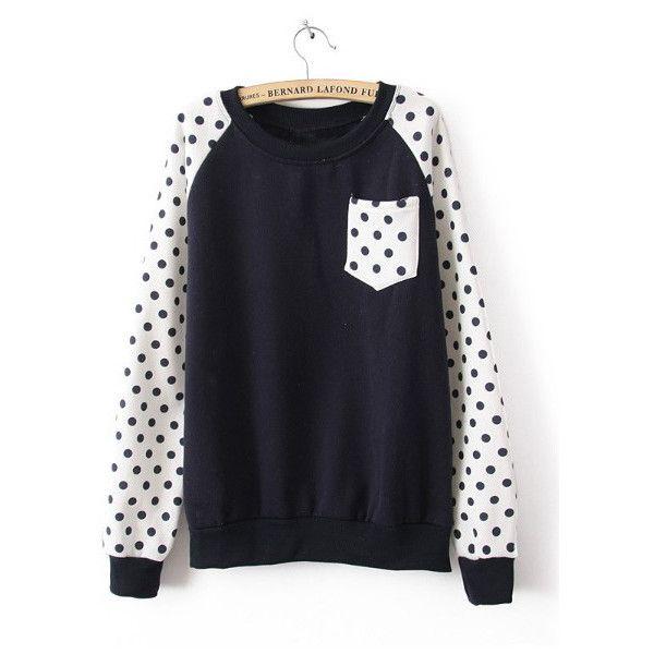 Navy Long Sleeve Polka Dot Pocket Sweatshirt (€27) ❤ liked on Polyvore