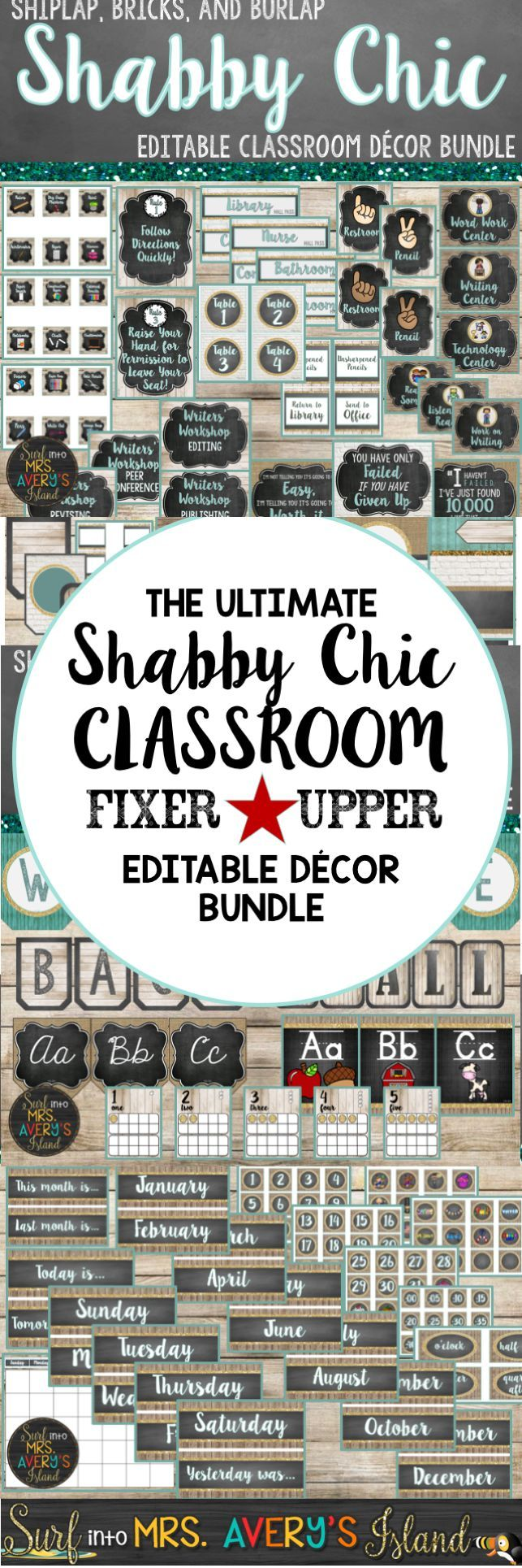 Are you tired of having a hodge podge of classroom decor?  Click here to discover a shabby chic classroom decor bundle FULL of back to school organization printables, classroom ideas, classroom management posters, growth mindset posters, and so much more!  There's no doubt Chip and Joanna would put their seal of approval on this Shiplap, Bricks, and Burlap Classroom (Fixer Upper) Bundle!  Take a look at the preview and see what other teachers have to say!