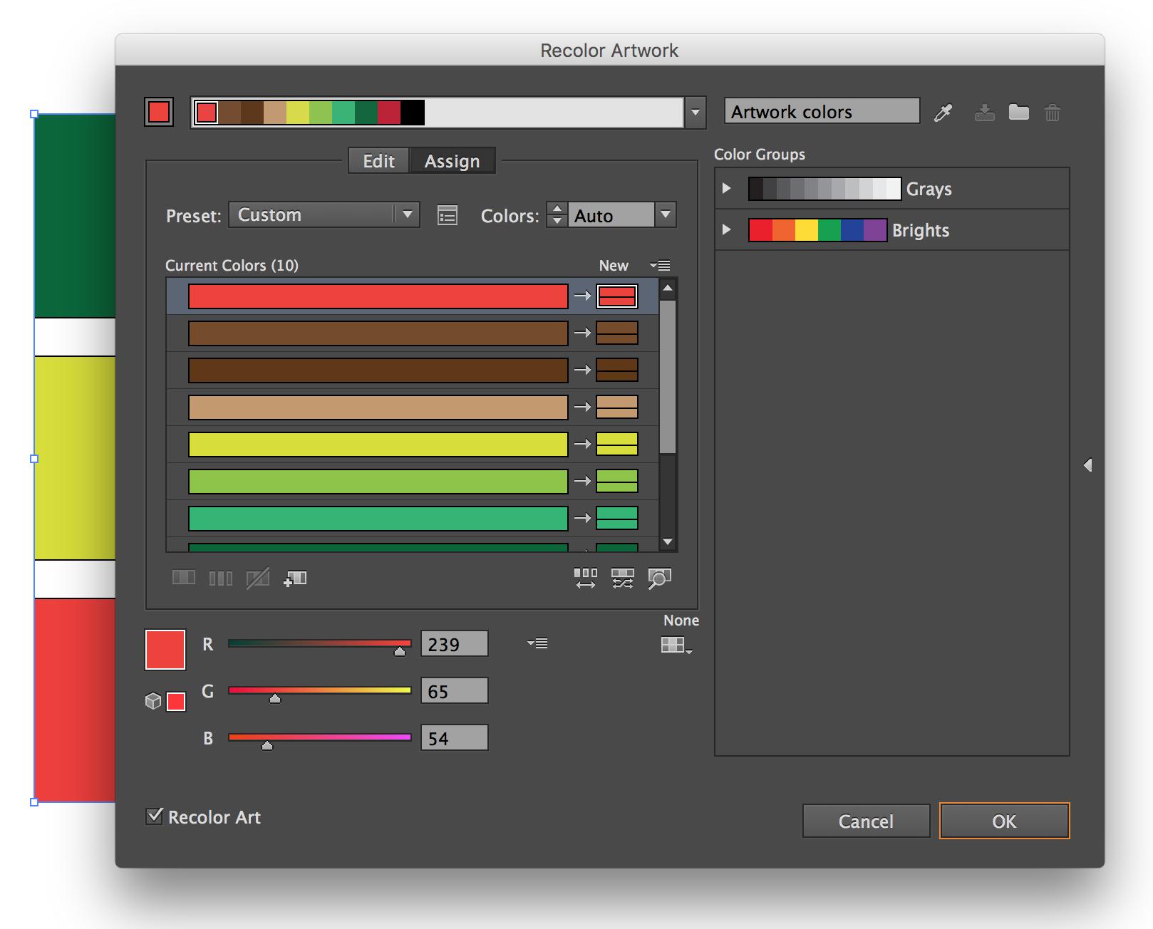 Adobe Illustrator Recolor Artwork Recolor Custom Color Color