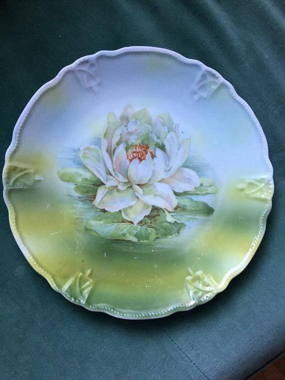 Gorgeous Vintage Lotus Flower Floral Dinner Plate 1920s Germany