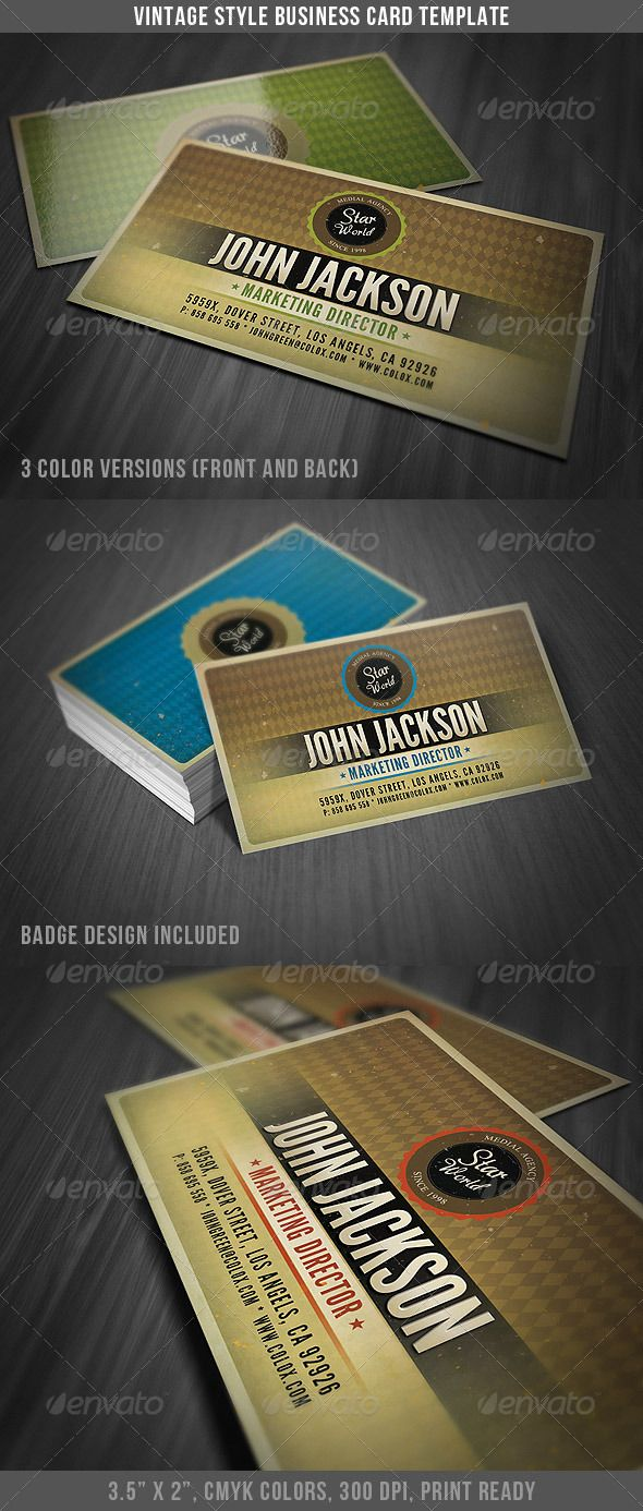 Vintage Style Business Card Template Card Templates Business