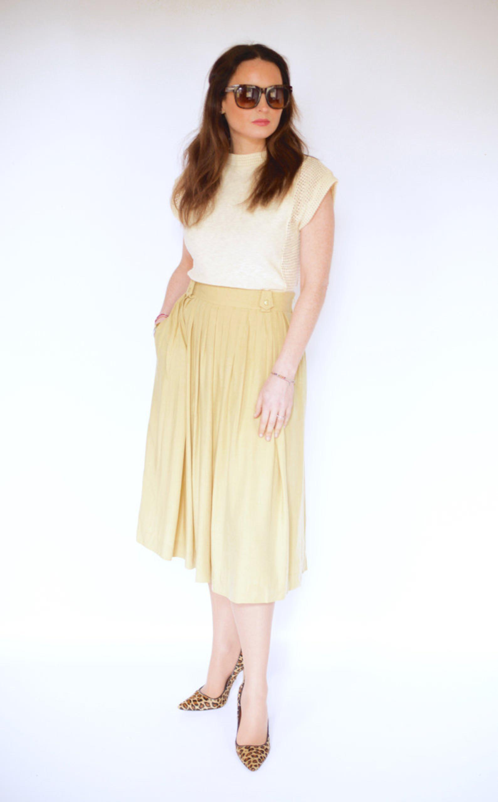 Vintage yellow skirt UK 10 / 12 (med billeder)
