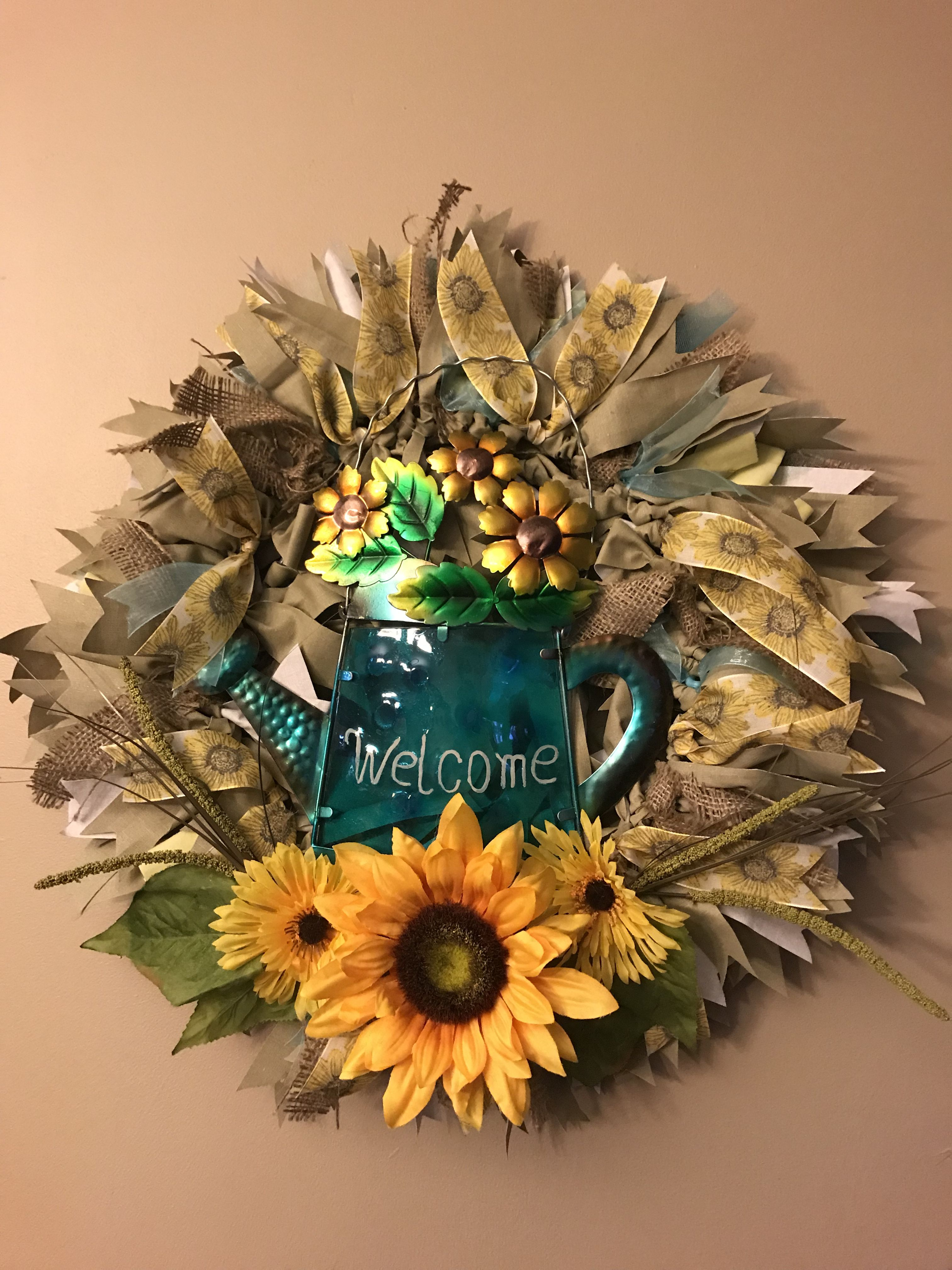 Forever summer sunflower wreath 16in fabric wreath adorned with