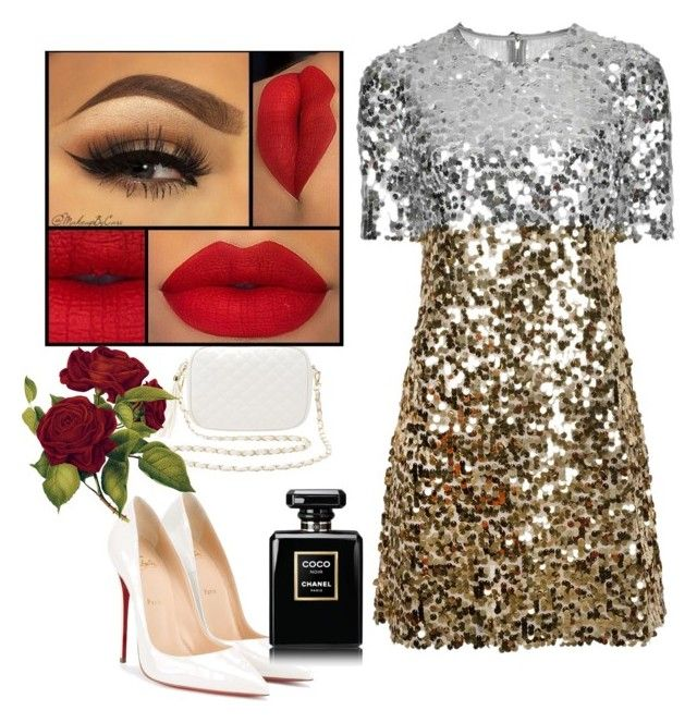"""Valentines look with a sparkle"" by desirecouture on Polyvore featuring Dolce&Gabbana, Christian Louboutin, Charlotte Russe and Chanel"