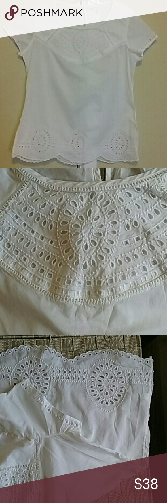 Banana Republic Eyelet Top Beautiful eyelet bib, hem and sleeves. In excellent condition, worn once.  It is as good as new,  no flaws.  100% cotton. Banana Republic Tops Blouses