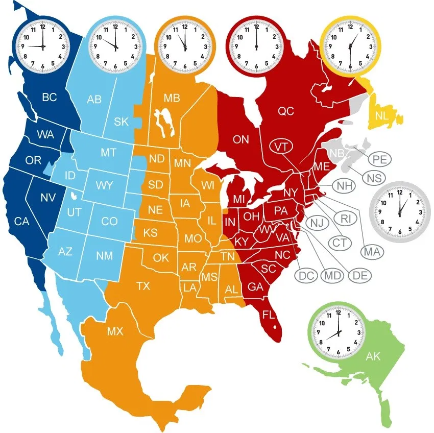 The North America Time Zone Map Large Printable Colorful Details Whatsanswer Time Zone Map North America Map Time Zones