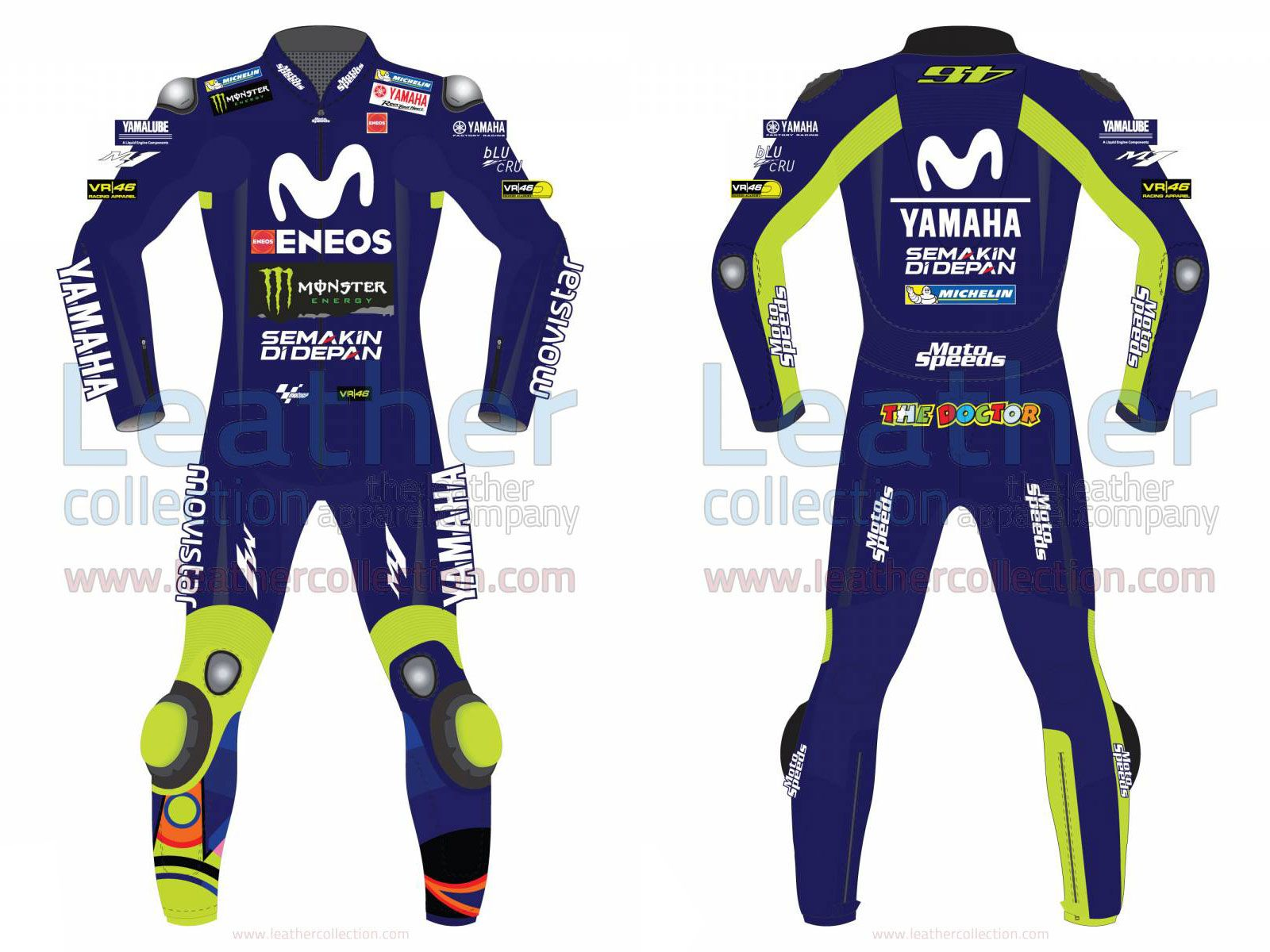 2903b39483ef via Valentino Rossi Movistar Yamaha MotoGP 2018 Race Suit Specially  designed race suit of Valentino Rossi