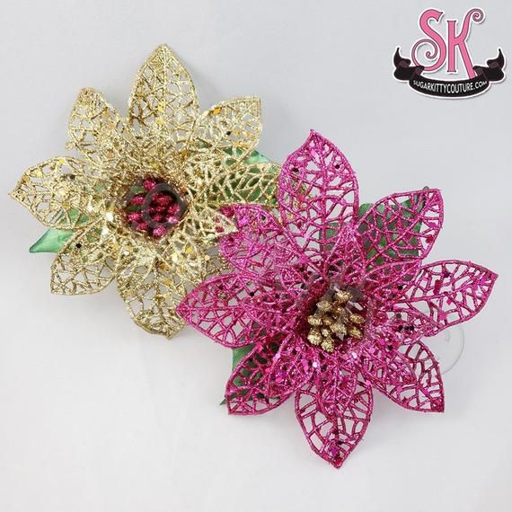 Glittery Poinsettia Christmas Hair Flower Fascinator • Choose Style • SugarKitty Couture #fascinatorstyles