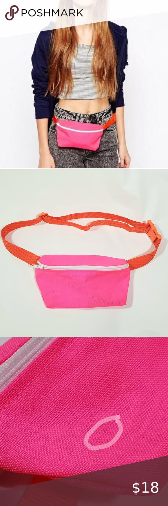Neon pink contrast bumbag