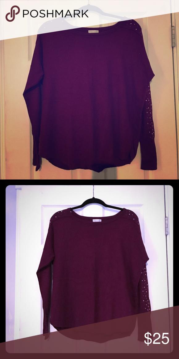 Women's sweater with embellishments Bisou bisou purple sweater with arm embellishments..worn twice Bisou Bisou Sweaters Crew & Scoop Necks