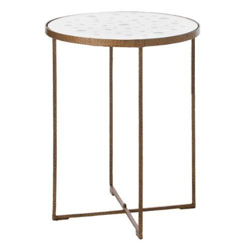Casey Modern Gold Tall Hammered Iron Round Mirror Side Table by