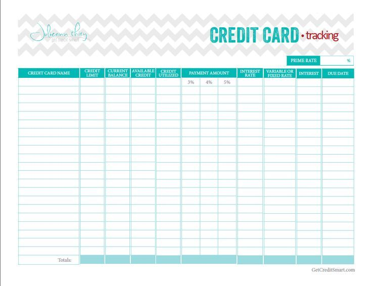 Credit Card Debt Payment Free Printable  Google Search