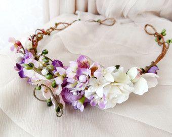 Purple Wildflower Hair Wreath Lilac Bridal Headpiece Wild Beauty Rustic Wedding Bridal Hair Access Bridal Flower Crown Purple Hair Accessory Flower Crown