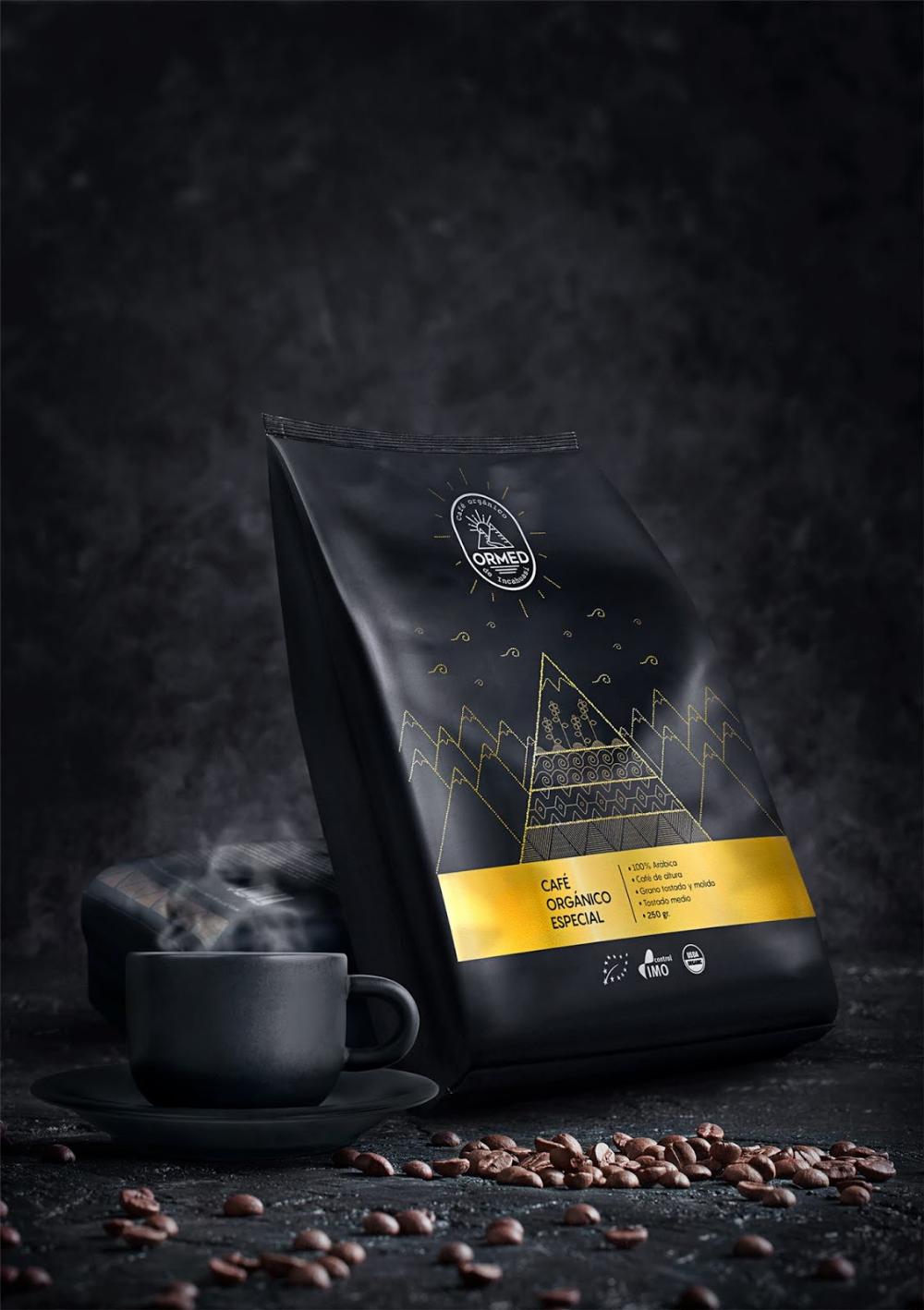 ORMED Premium organic coffee Coffee packaging, Coffee