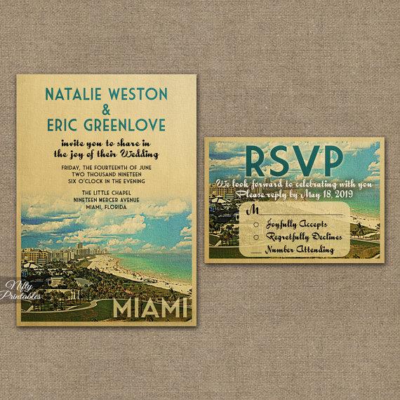 Miami Wedding Invitation Printable Vintage Florida Invites South Beach Retro Suite Or Solo Vtw