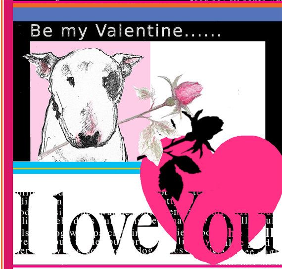 bull terrier valentine card i love you by theterriersclub on etsy