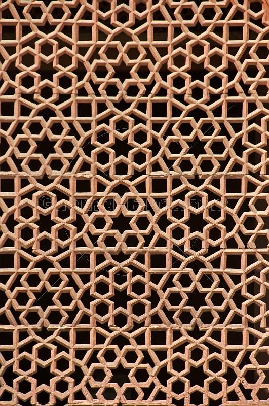 Detail Of Carved Red Sandstone Jali Screen On Humayun S
