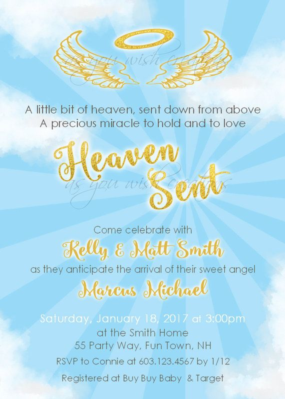 Angel Baby Shower Invitation Boy Blue Gold Glitter Invites Printable Ba