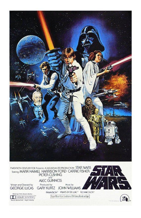 Star Wars: Movie Poster Print - A New Hope Original Reproduction; Luke Skywalker, Han Solo, Darth Vader, Princess Leia