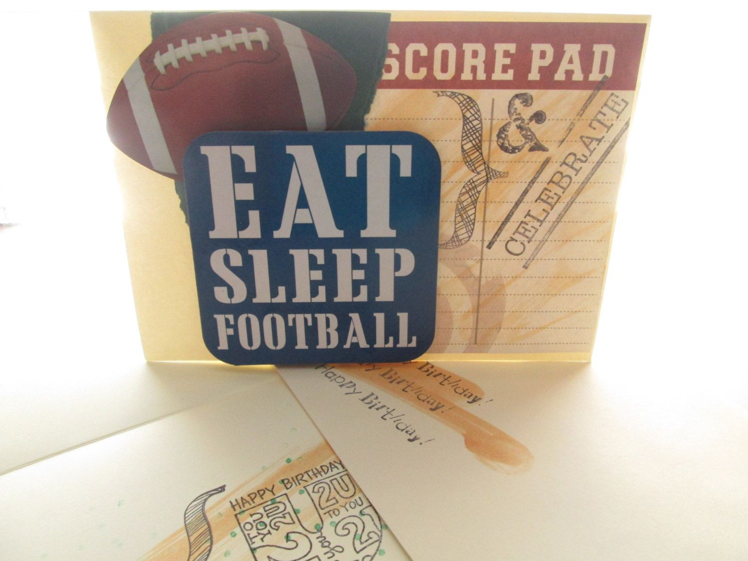 Football Fans Handmade Birthday Card Guys Live For Football Score By