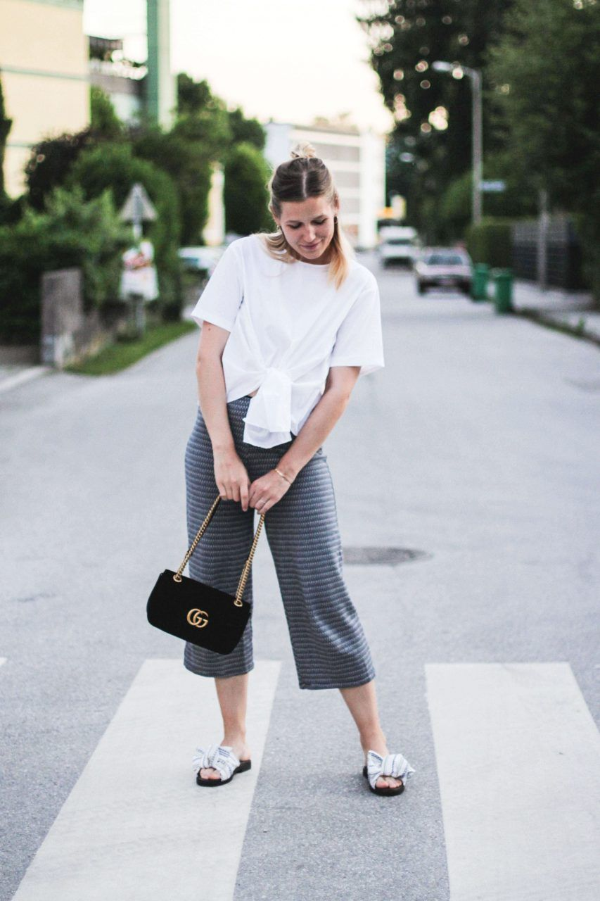e97fc0f3f tifmys – Knotted blouse and culottes: Zara | Bow slippers: Miista | Bag: