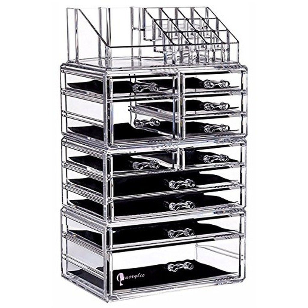 c86e8a4f98a7 PengKe Large 9 Tier Clear Acrylic Cosmetic Makeup Storage Cube ...