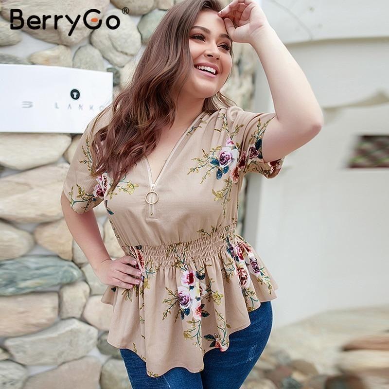 e30599a748979e BerryGo women blouse Bohemian floral print plus size shirt V-neck elas –  KOREAIDOLFEVER