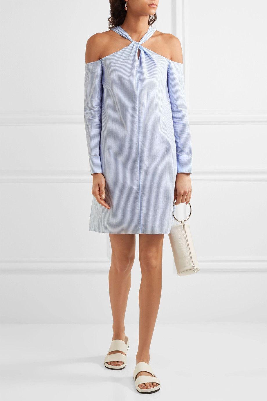 Rag & Bone Woman Cold-shoulder Striped Cotton-poplin Mini Dress Light Blue Size S Rag & Bone yzwF93Q