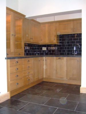 Kitchen Black Tiles Natural Oak Google Search New