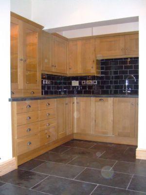 kitchen black tiles natural oak Google Search New Kitchen