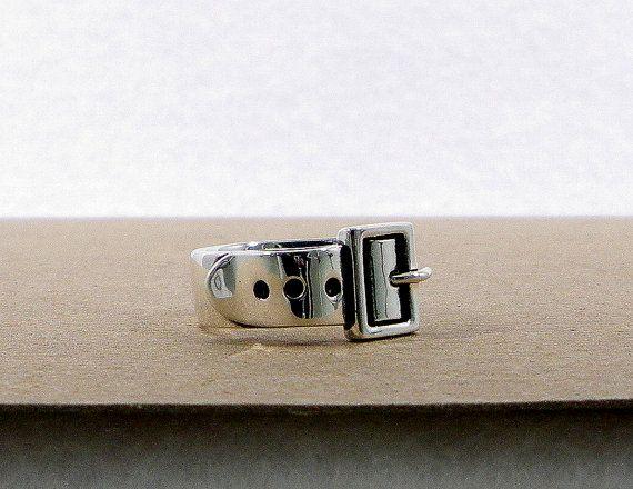 Sterling Silver Wide Belt Buckle Ring - Wide Belt, Bondage, Fashion, or Statement Ring, $102.00