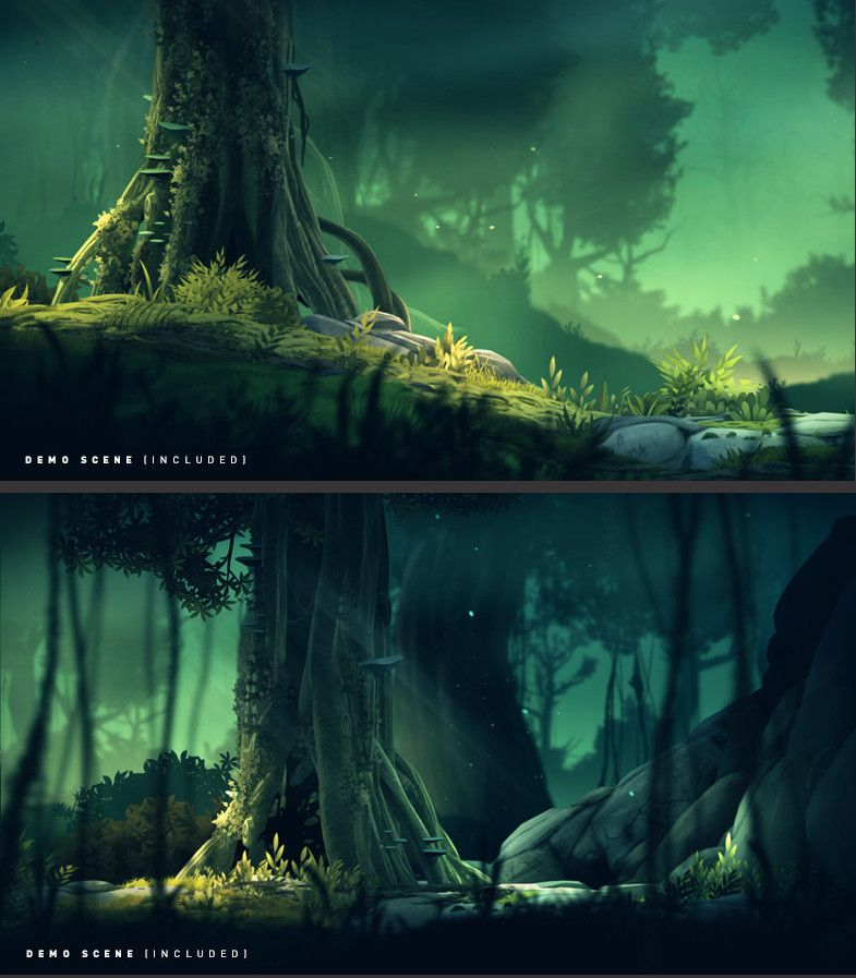 2D Forest Pack Textures & Materials A hand painted, high resolution