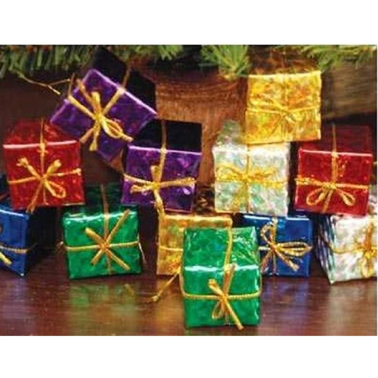 Lot of 48 Miniature Assorted Foil Gift Boxes for Christmas