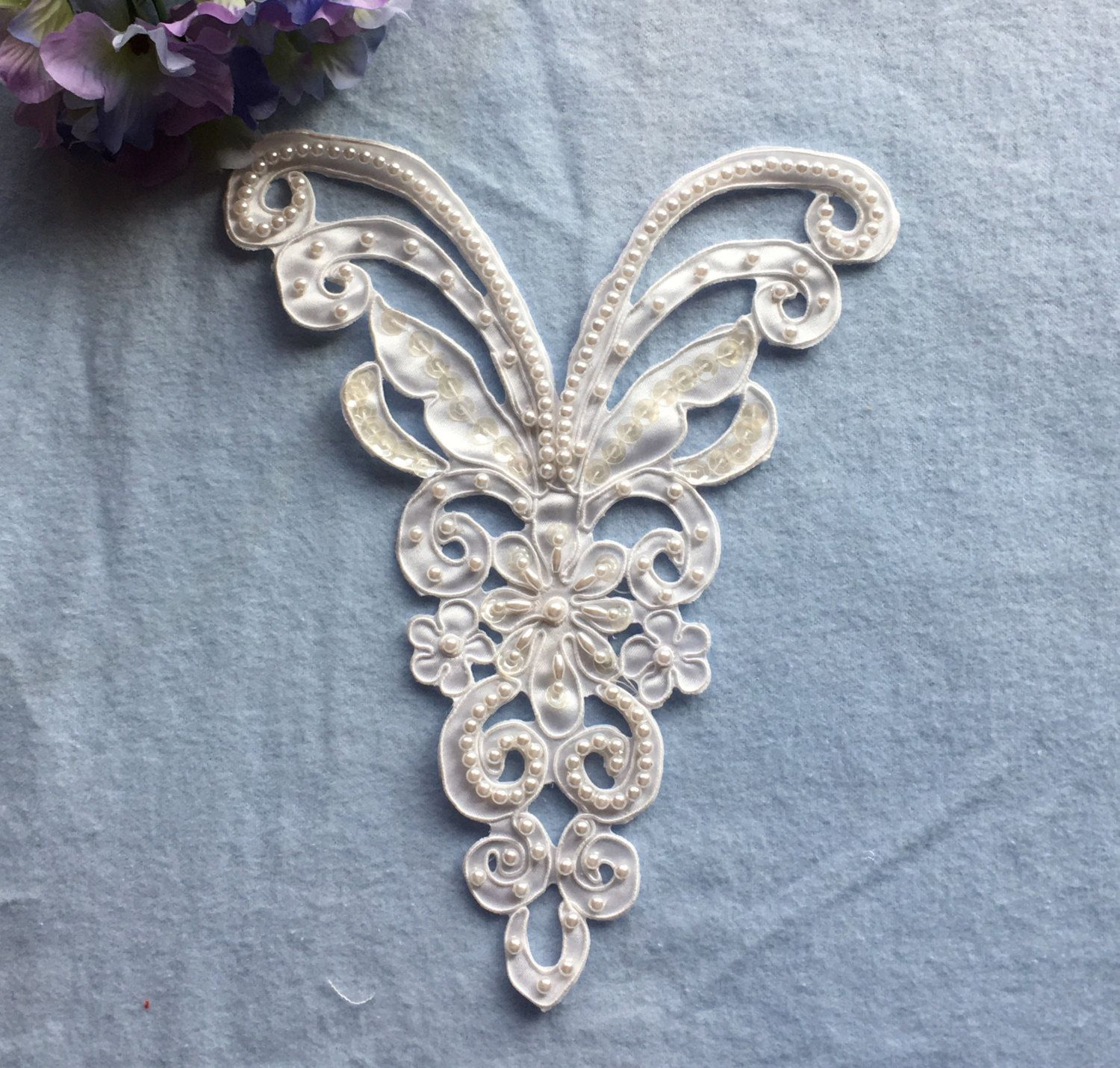 Vintage White Cutwork Lace Applique Beaded Sequined Bridal