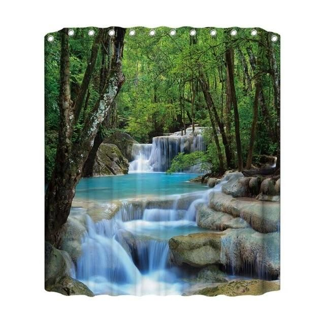 Brightly Colored Jungle Or Safari Print Shower Curtains Flowered Waterfall Shower Shower Curtain Polyester Waterfall Wallpaper