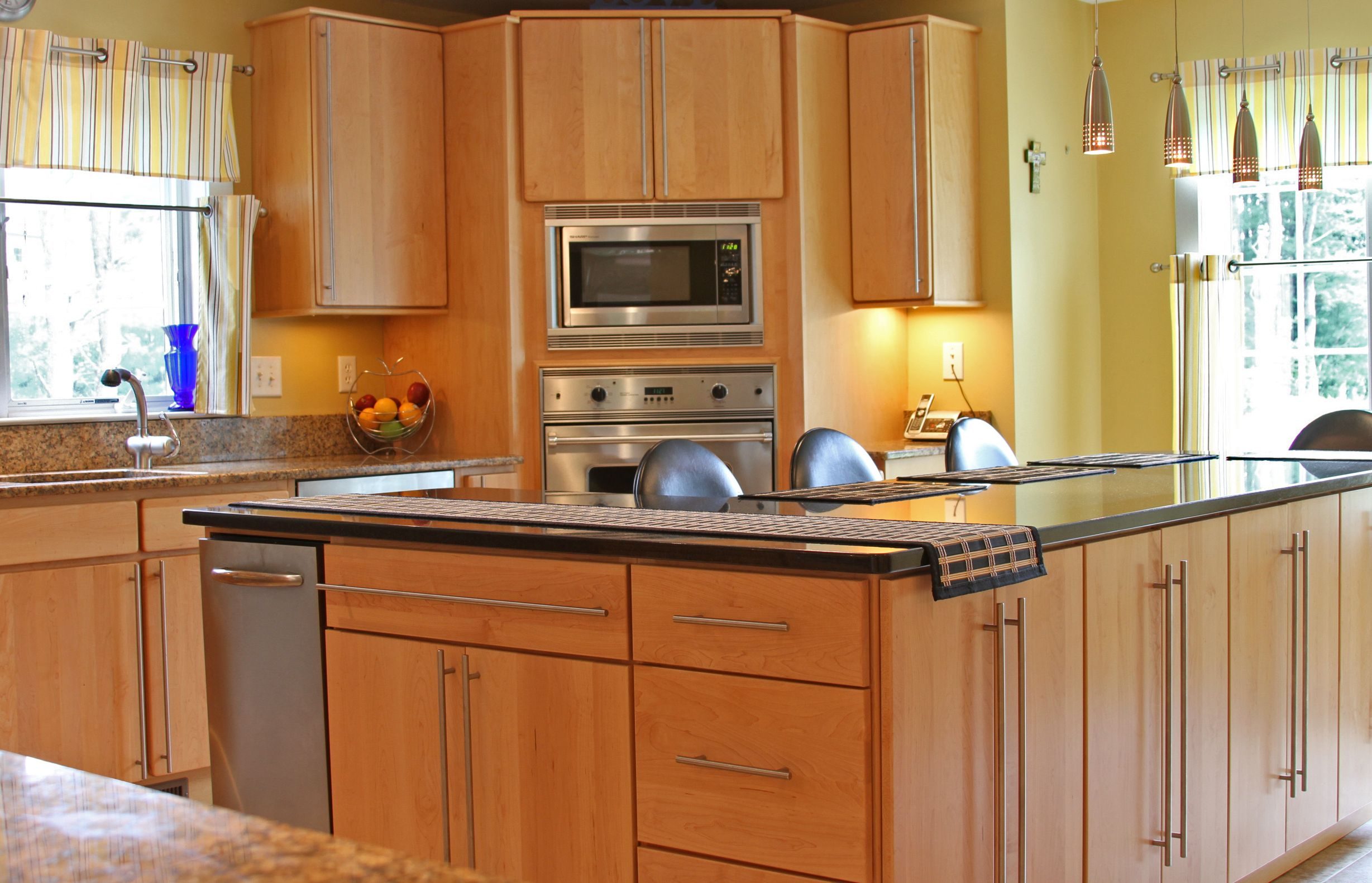 Sunny Kitchen With Brown Wood Cabinets And Viking Appliances In Georgetown Ma Wood Kitchen Counters Wood Kitchen Wood Countertops Kitchen