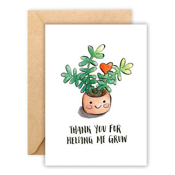 Thank You Plant Card Plant Card Thank You Card Plant  Etsy