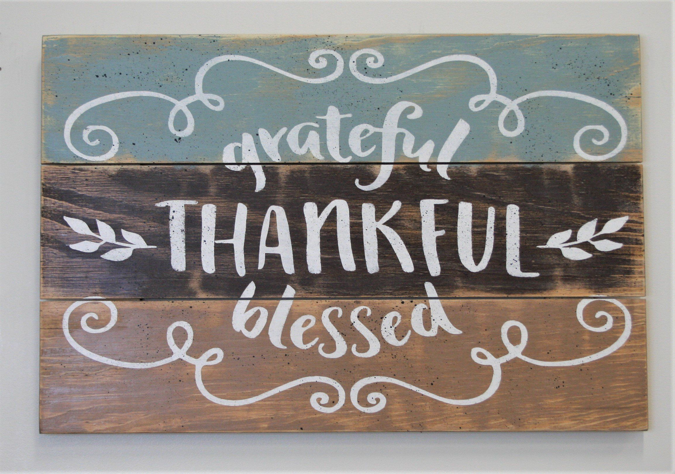 Grateful Thankful Blessed Inspirational Wood Sign Products