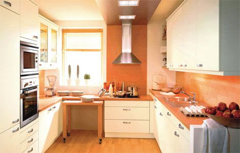 Attractive ... Terrace House Kitchen Design Ideas. Delicieux Kitchen Trolley Stored  Under Worktop Layout Sink Not Window Modern Country KitchensSmall Eye Level  Oven