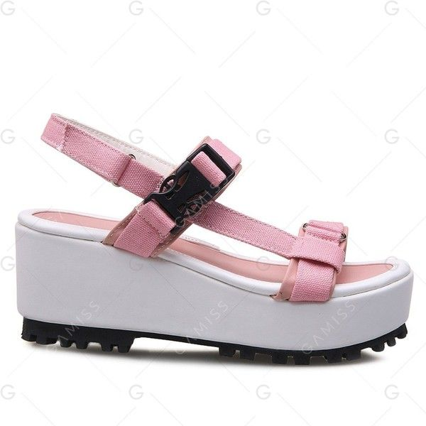 Plastic Buckle Platform Sandals ($26