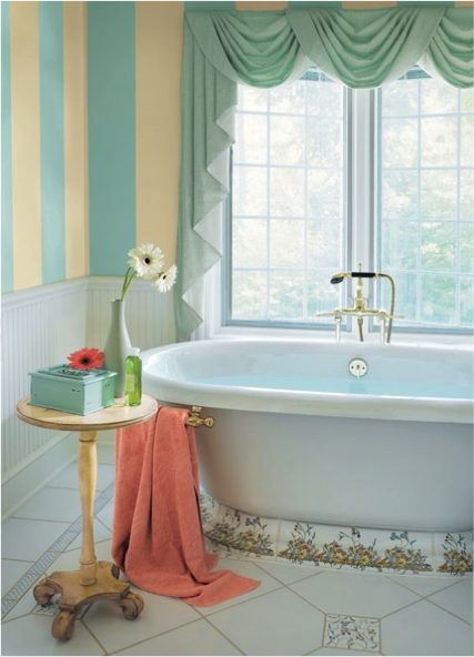 Contemporary Cooled Blue SW 6759 and Lucent Yellow SW 6400 stripes from · Relaxing ColorsBathrooms For Your House - Fresh relaxing bathroom colors Elegant