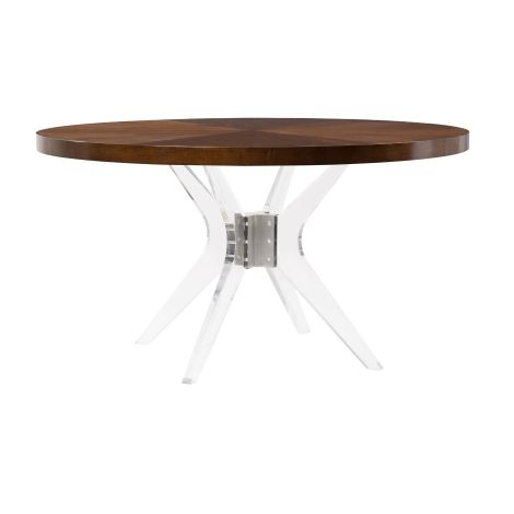 """Ariel Belle Meade dining table 60""""D round lucite base"""