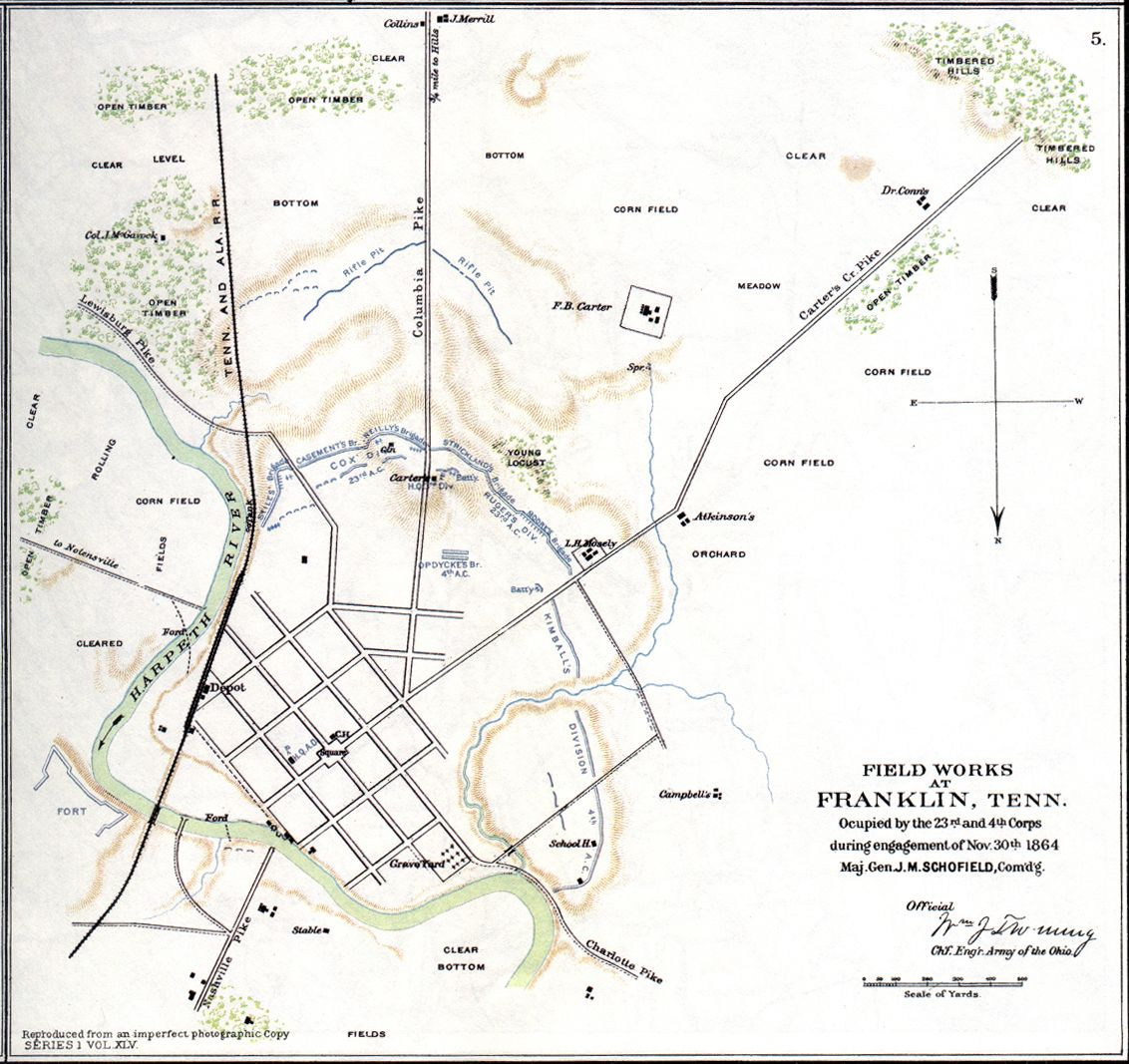 Map of Franklin TN 1864 Battle of Franklin USA